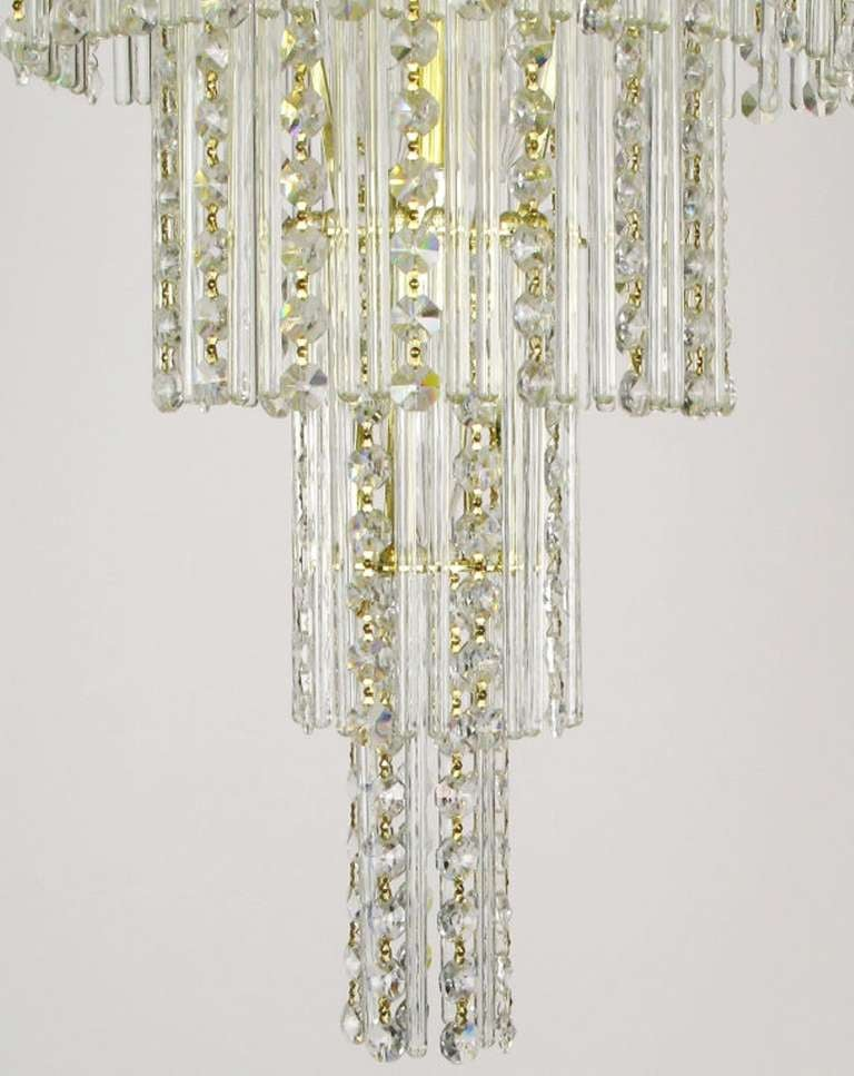 Seven tier crystal beads and rods brass chandelier at 1stdibs - Chandelier glass beads ...