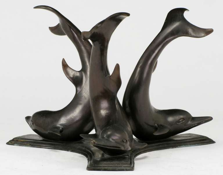 Cast Bronze Triple Dolphin Coffee Table With Glass Top For Sale At 1stdibs