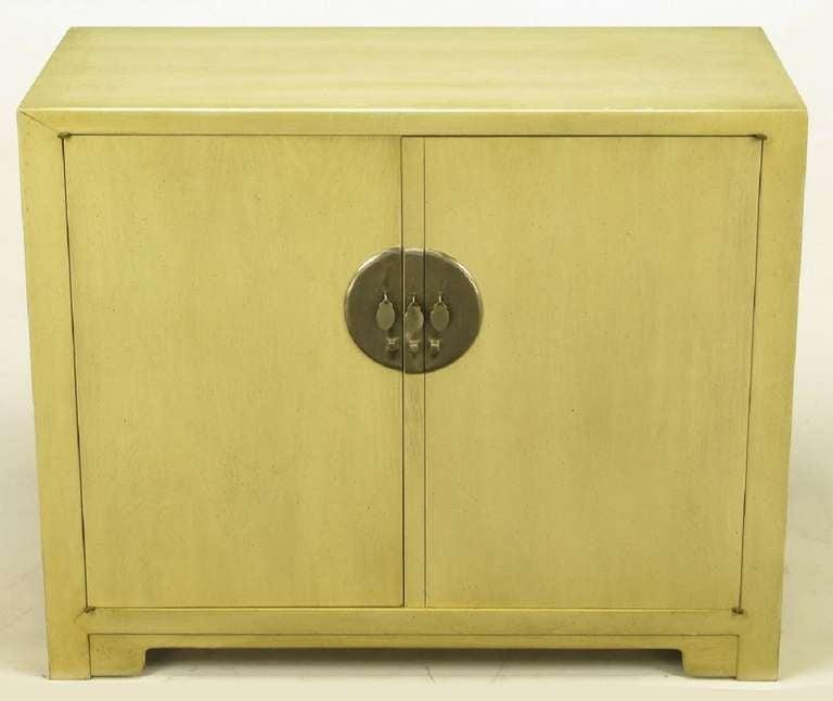 Ivory Glazed Kitchen Cabinets: Pair Baker Far East Collection Ivory Glazed Mahogany