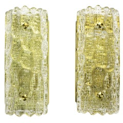 Pair Carl Fagerlund For Orrefors Glass & Brass Sconces
