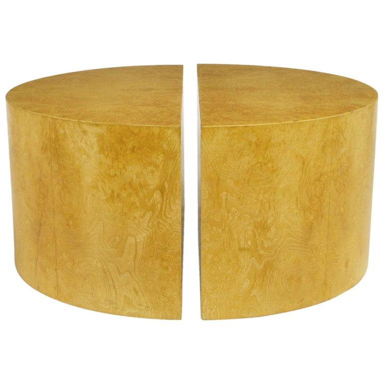 Pair Semicircular Olive Ash Burl Coffee Tables