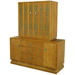 John Van Koert Casa del Sol Tawny Walnut and Stenciled Tall Cabinet