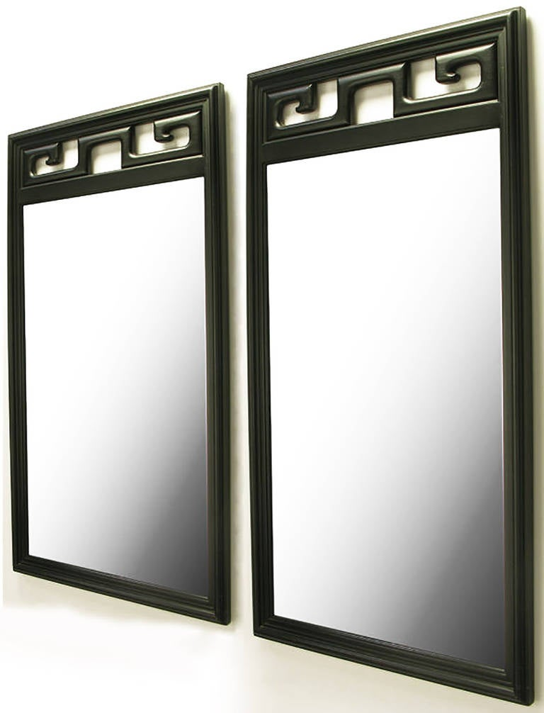 Pair of Black Lacquer Asian Greek Key Panel Mirrors 2