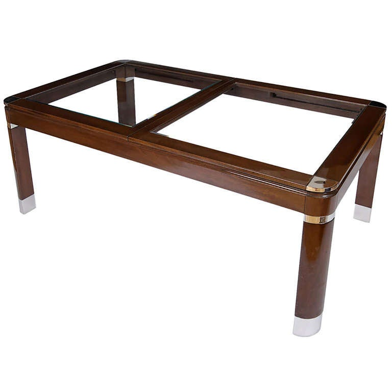 Mahogany Chrome And Glass Dining Table For Sale At 1stdibs