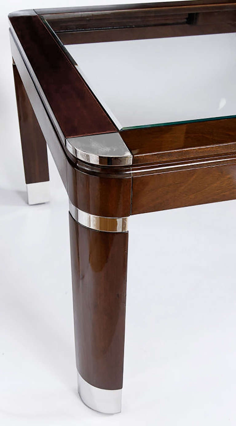 Mahogany Chrome and Glass Dining Table For Sale at 1stdibs : springer2l from www.1stdibs.com size 768 x 1384 jpeg 61kB