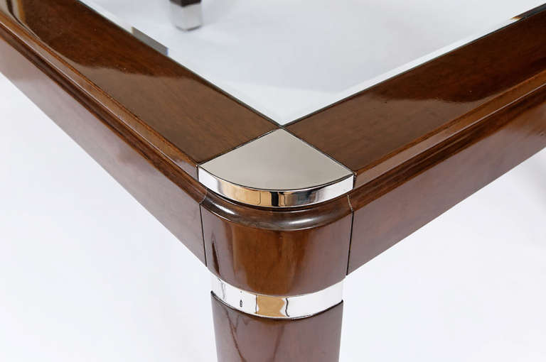 20th Century Mahogany, Chrome and Glass Dining Table For Sale