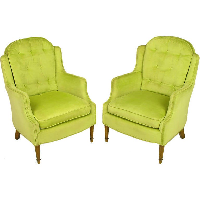 American Pair Of Chartreuse Yellow Green Velvet Regency Lounge Chairs For