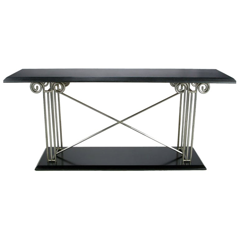 Milo Baughman Postmodernist Ionic Columns Console Table For Sale