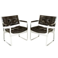 Pair of Karl-Erik Ekselius Leather and Aluminium Mondo Armchairs