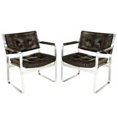 Pair of Karl-Erik Ekselius Leather and Aluminium Mondo Armchairs