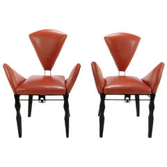Pair of Steel and Leather Vinta Chairs by Joaquin Gasgonia Palencia
