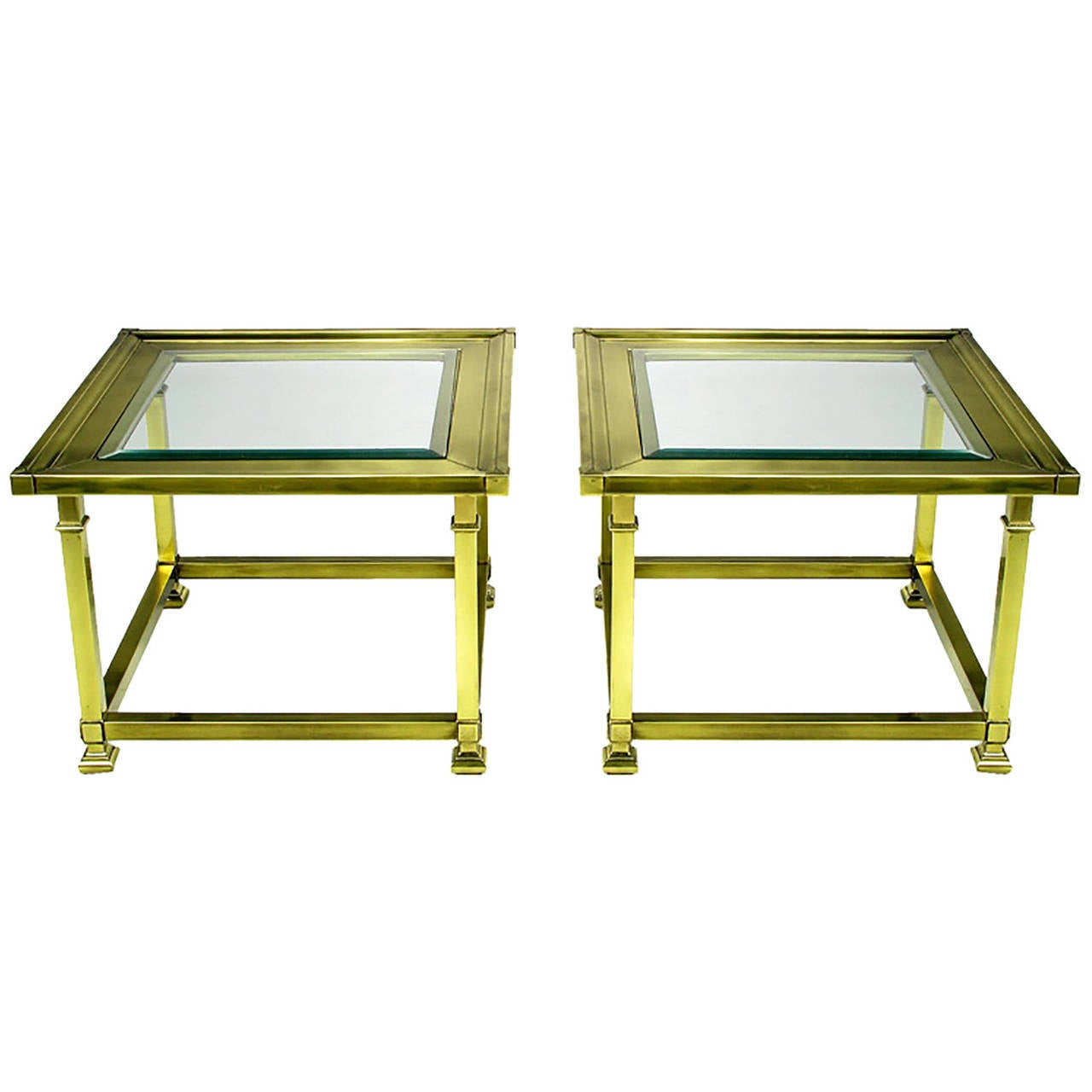 Pair of Classic Brass Picture-Frame End Tables by Mastercraft