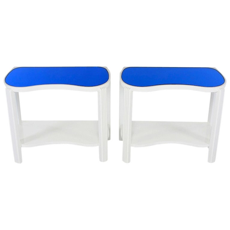Pair of 1930s Art Deco White Lacquer and Blue Mirror Side Tables For Sale