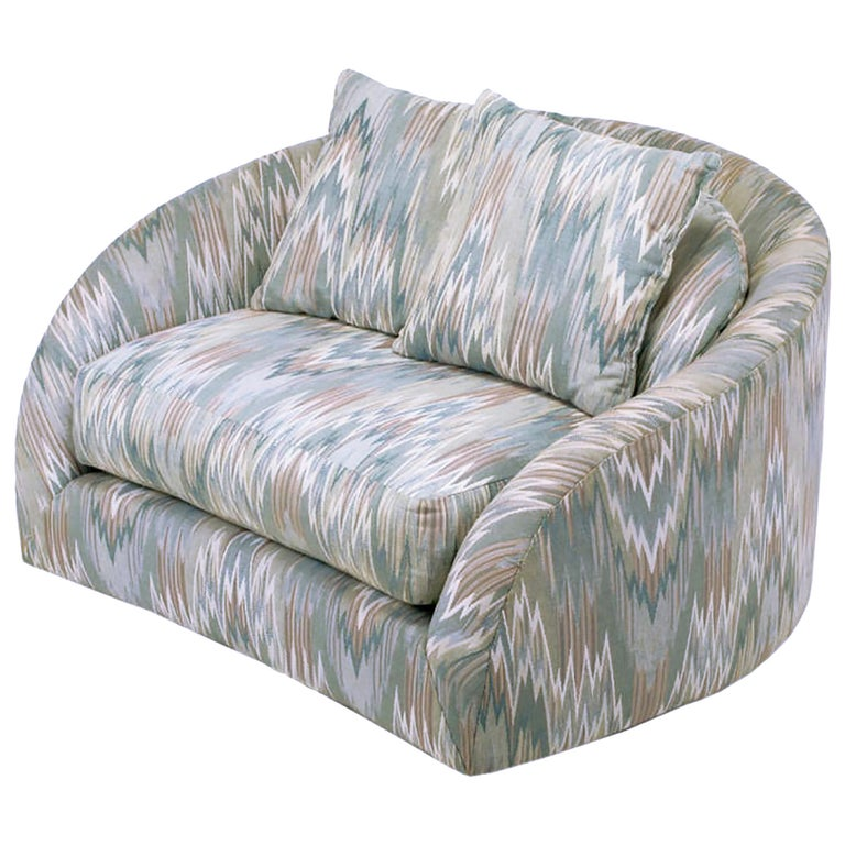 Adrian Pearsall Swiveling Club Chair in Original Flame Stitch Upholstery For Sale