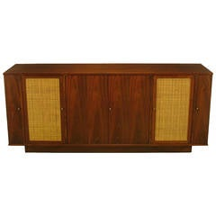 Dunbar Walnut and Cane Credenza by Edward Wormley