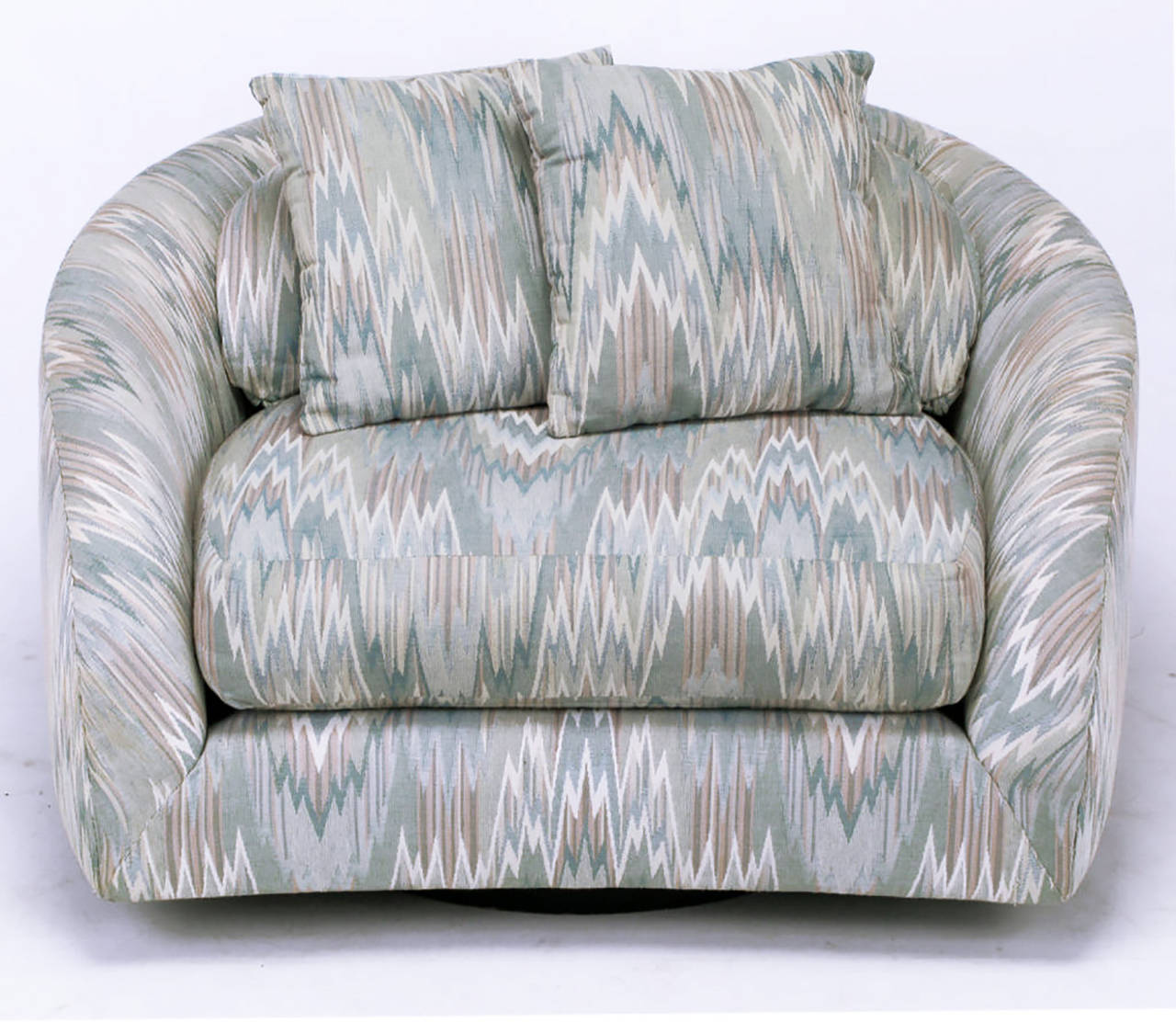 American Adrian Pearsall Swiveling Club Chair in Original Flame Stitch Upholstery For Sale