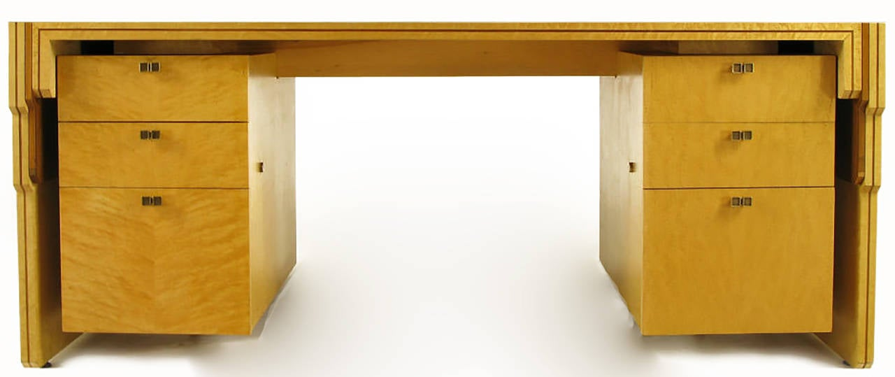 American Pierre Paulin Bird's-Eye Maple and Walnut Inlay Executive Desk For Sale