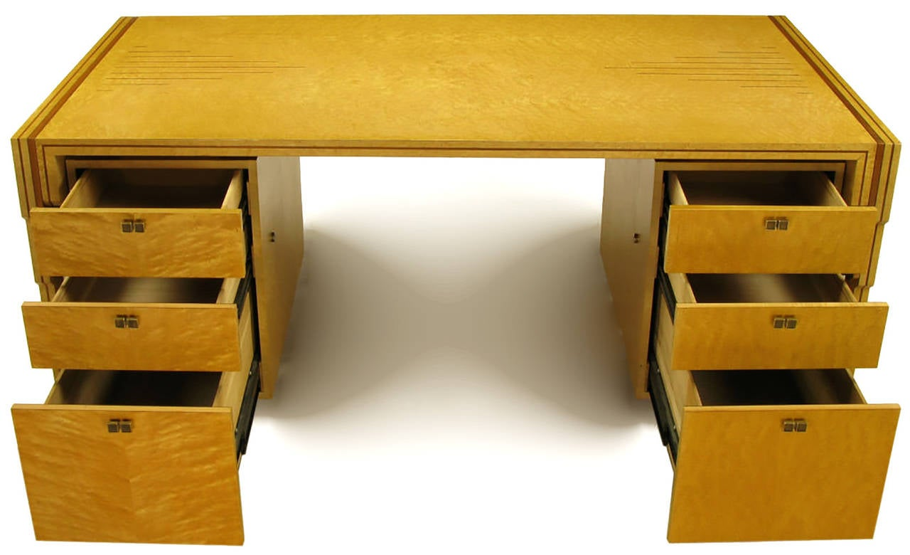 Birdseye Maple Pierre Paulin Bird's-Eye Maple and Walnut Inlay Executive Desk For Sale