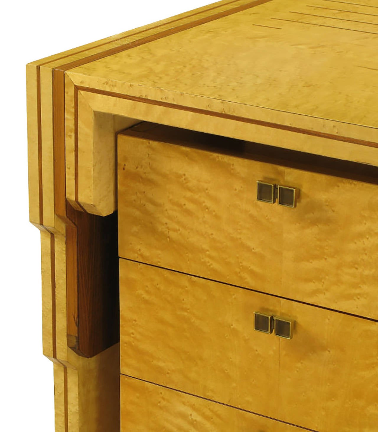 Pierre Paulin Bird's-Eye Maple and Walnut Inlay Executive Desk For Sale 2