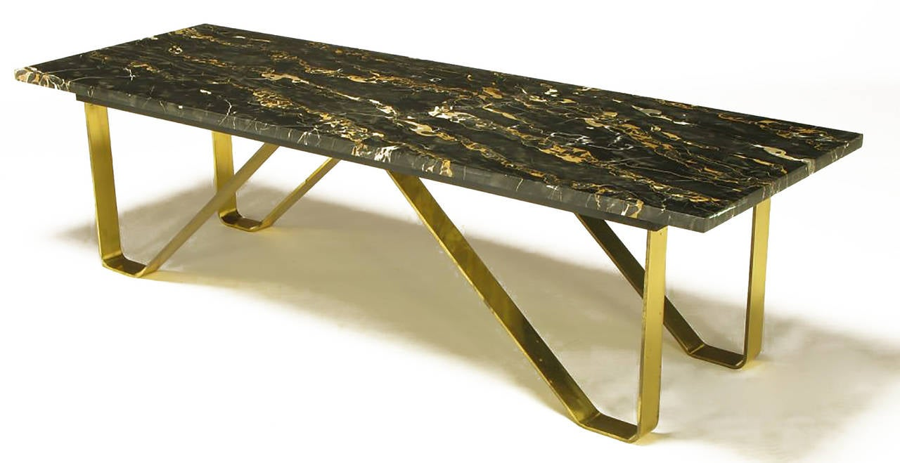 custom italian portoro marble and brass coffee table for sale at 1stdibs. Black Bedroom Furniture Sets. Home Design Ideas