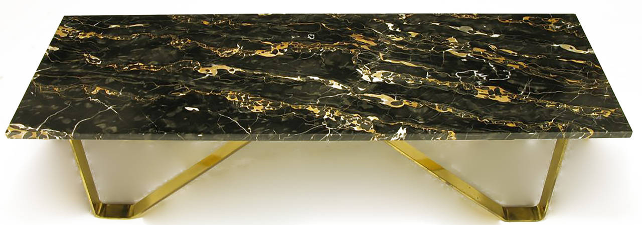 Custom Italian Portoro Marble and Brass Coffee Table In Good Condition For Sale In Chicago, IL