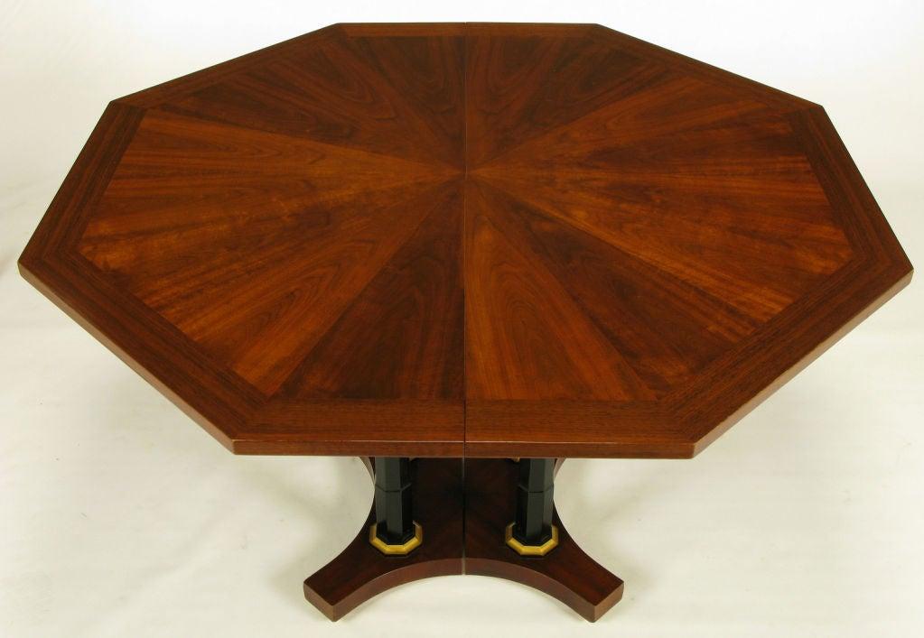 octagonal empire revival walnut and ebonized column dining