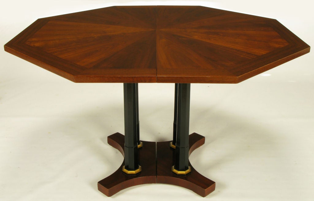 Octagonal empire revival walnut and ebonized column dining for Table column