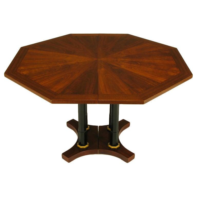 Octagon Dining Room Table: Octagonal Empire Revival Walnut And Ebonized Column Dining