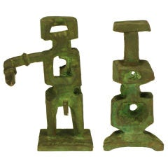 Pair Bronze Male & Female Abstract Sculptures, Signed.