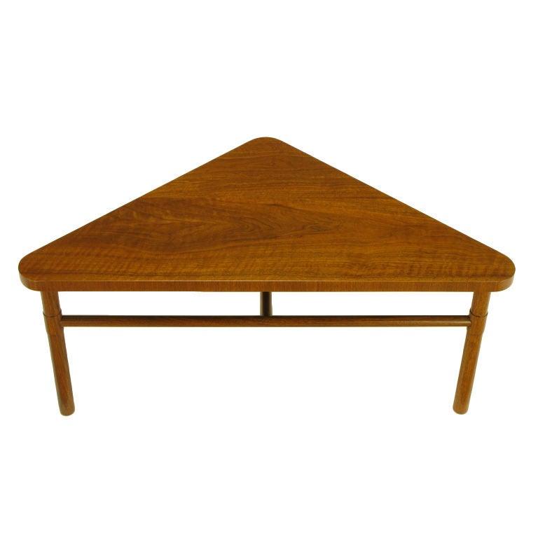 Marvelous Bert England Forward Trend Walnut Triangular Coffee Table 1
