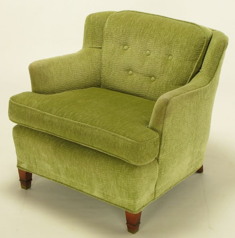 Pair green chenille button tufted low wing chairs at 1stdibs for Button tufted chaise settee green