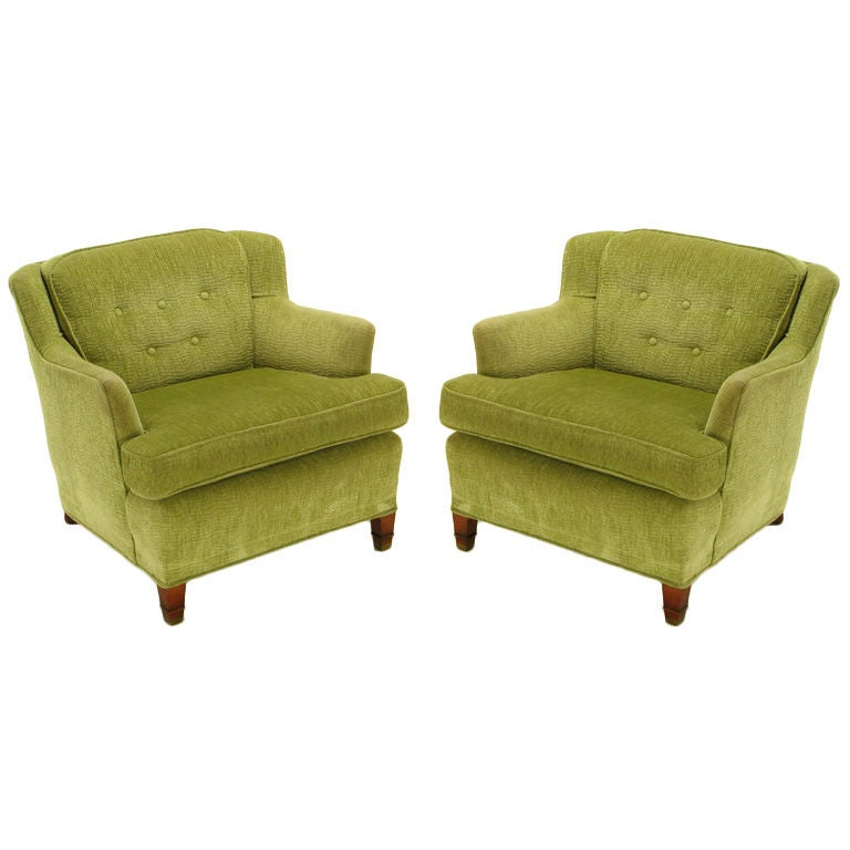 Pistachio Green Leather Sofa: Pair Green Chenille Button-Tufted Low Wing Chairs At 1stdibs