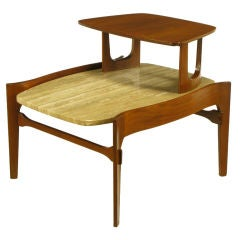 Walnut & Travertine Two Tiered End Table In the Style Of Bertha Schaefer