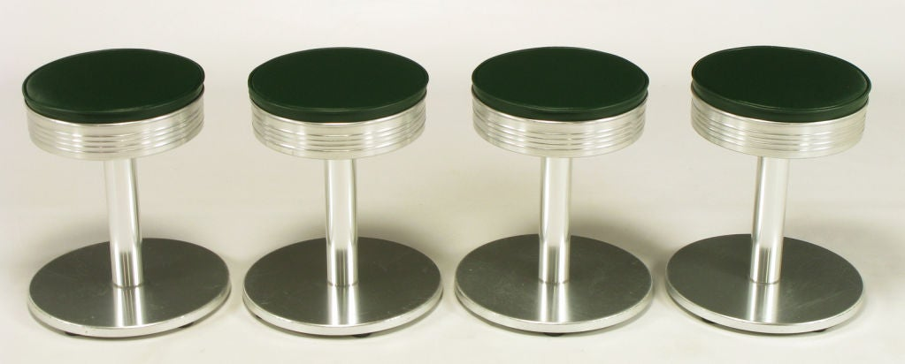 Four Joan Casas Y Ortinez Indecasa Aluminum Tabourets At