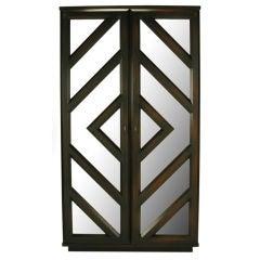 Tall Dark Walnut Bar Cabinet With Geometric Mirror Front