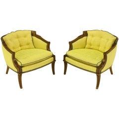 Pair Oxford Ltd Saffron Striped Barrel Lounge Chairs