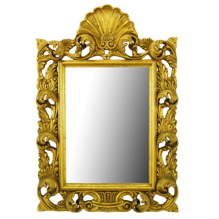 French Regence Style Shell & Acanthus Leaf Mirror