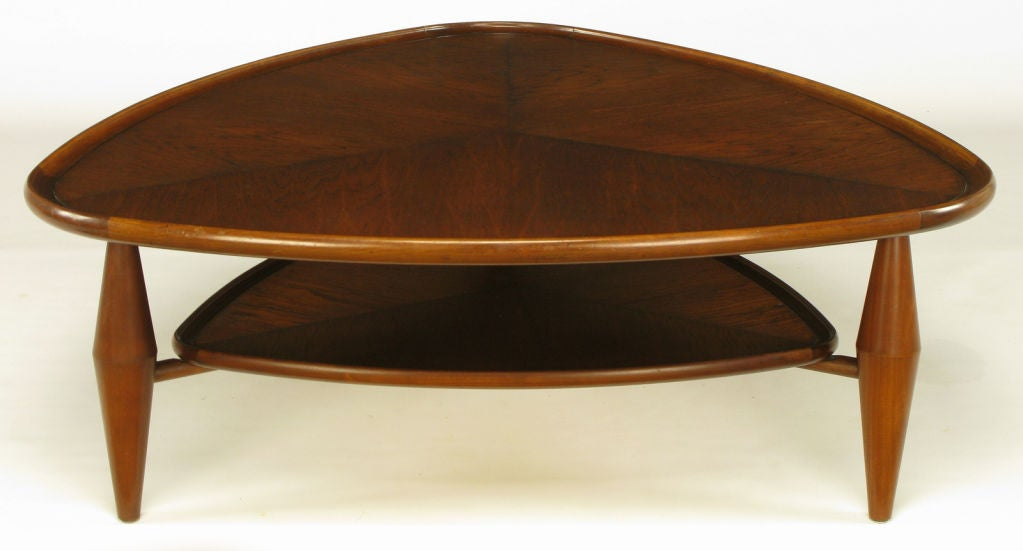 John Widdicomb Two Tiered Parabolic Triangle Coffee Table