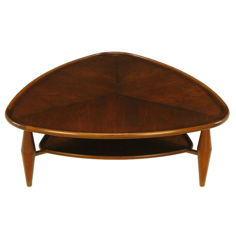 John widdicomb two tiered parabolic triangle coffee table for Triangle end table plans