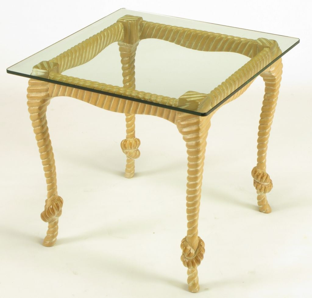 Carved And Limed Light Wood End Table With Ribbed Knotted Rope Like Legs Lowered