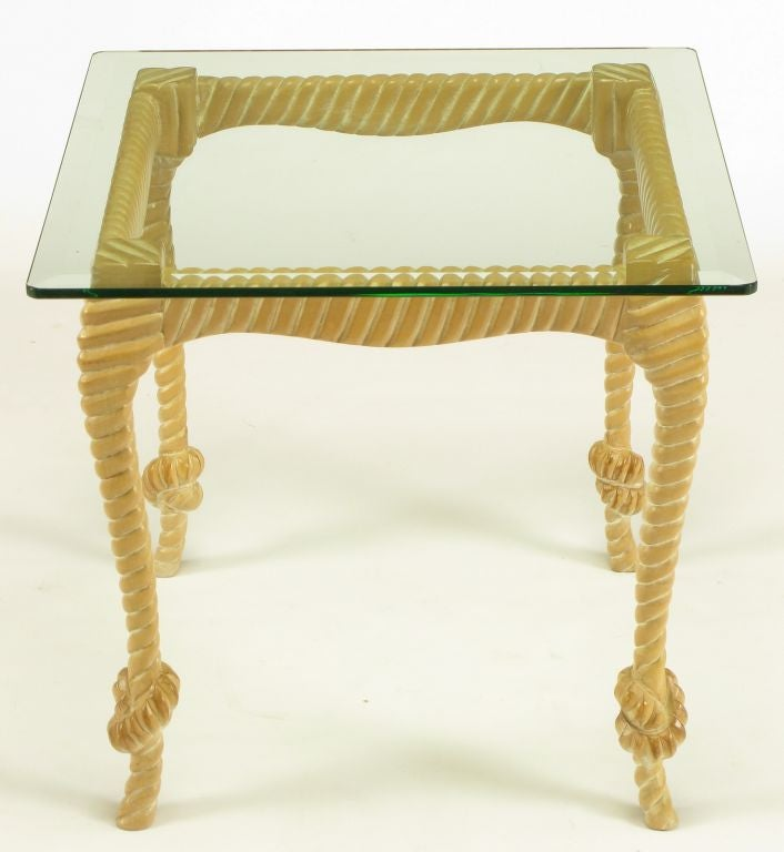 American Carved and Limed Wood Knotted Rope End Table For Sale