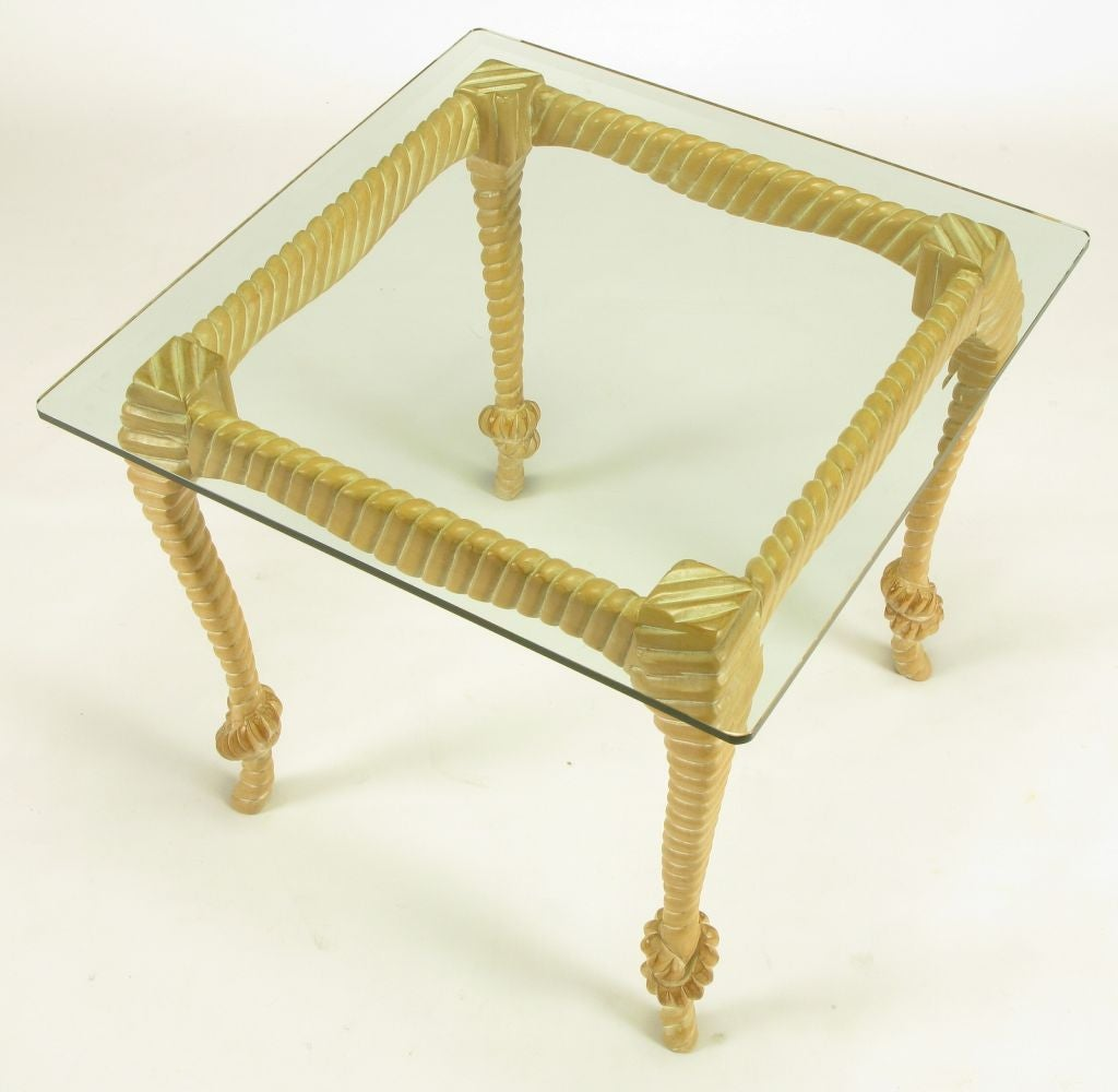 Carved and Limed Wood Knotted Rope End Table In Good Condition For Sale In Chicago, IL