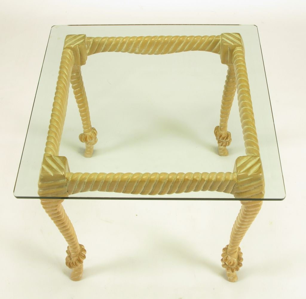 Late 20th Century Carved and Limed Wood Knotted Rope End Table For Sale