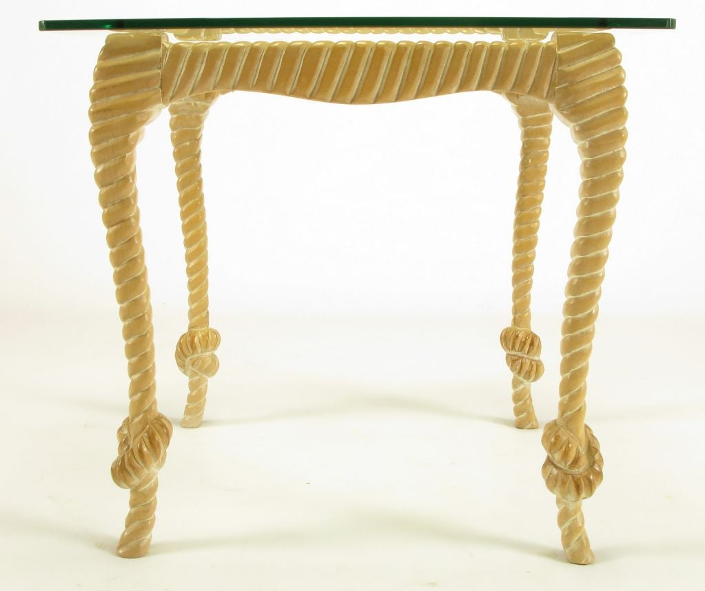 Carved and Limed Wood Knotted Rope End Table For Sale 1