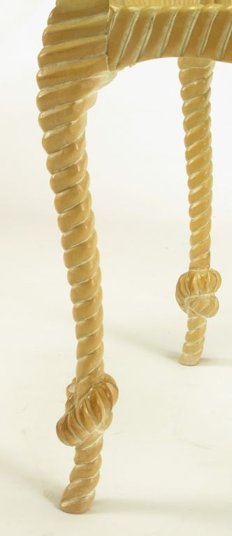 Carved and Limed Wood Knotted Rope End Table For Sale 2