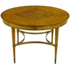 Round Diamond Burl Inlaid Top & Brass Stretcher Dining Table.