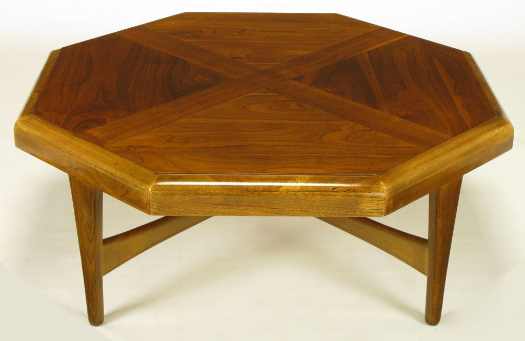 Mid-Century Modern Octagonal Figured Walnut Parquetry Coffee Table For Sale