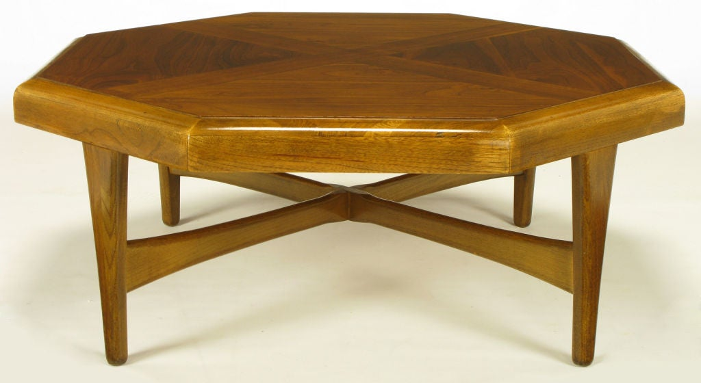 American Octagonal Figured Walnut Parquetry Coffee Table For Sale
