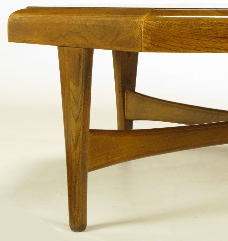 Mid-20th Century Octagonal Figured Walnut Parquetry Coffee Table For Sale