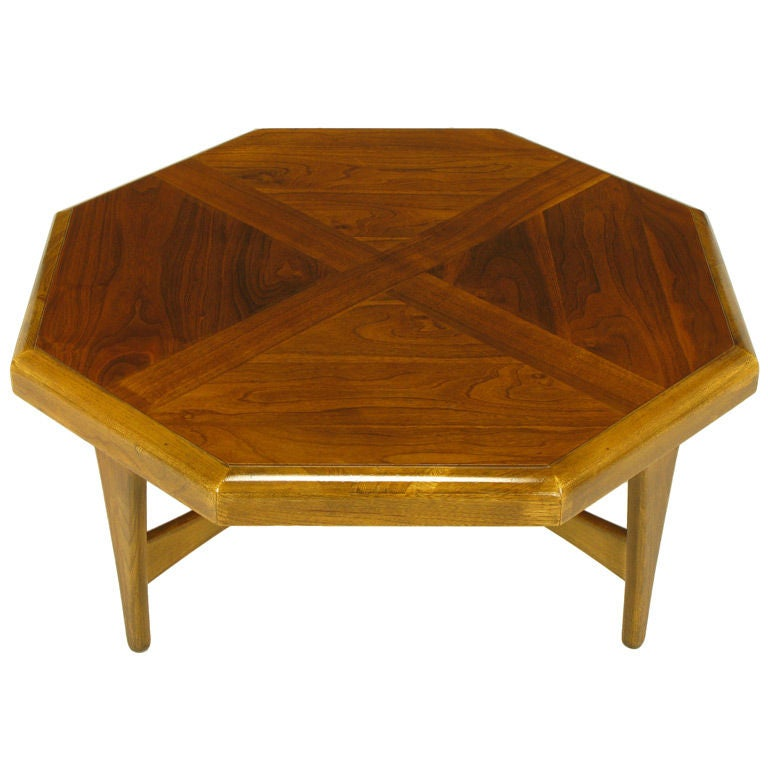 Octagonal Figured Walnut Parquetry Coffee Table For Sale